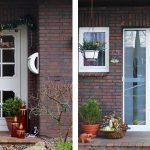 links: vor der Maßnahme | WIRUS Kunststoff-Fenster MD73 | Rahmen: 5-Kammer-System, 73 mm Bautiefe, Uf-Wert 1,3W/m²K | Glas: 3-fach-Wärmeschutz-Glas, Ug-Wert 0,6 W/m²K, WK-2 Beschlag | Rollladen: GROWE Vorbaurolllden mit E-Antrieb | WIRUS Haustür mit Seitenteil Thermo Top, 84 mm Bautiefe, thermisch getrenntes Aluminium-Profil, 3-fach Verglasung mit Verbundsicherheitsglas außen und einem Designglas in der mittleren Ebene | Montage: RAL-Montage