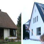 links: vor der Maßnahme | WIRUS Kunststoff-Fenster MD73 | Rahmen: 5-Kammer-System, 73 mm Bautiefe, Uf-Wert 1,3W/m²K | Glas: 3-fach-Wärmeschutz-Glas, Ug-Wert 0,6 W/m²K | WIRUS Haustür Thermo Top, 84 mm Bautiefe, thermisch getrenntes Aluminium-Profil | Montage: Wärmebrückenoptimierte RAL-Montage mit Laibungsdämmung