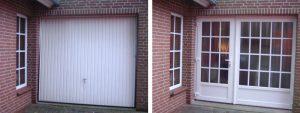 links: vor der Maßnahme | Umbau einer Garage zum Hauswirtschaftsraum