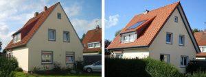 links: vor der Maßnahme | WIRUS Kunststoff-Fenster MD73 | Rahmen: 5-Kammer-System, 73 mm Bautiefe, Uf-Wert 1,3W/m²K | Glas: 3-fach-Wärmeschutz-Glas, Ug-Wert 0,7 W/m²K | Montage: RAL-Montage