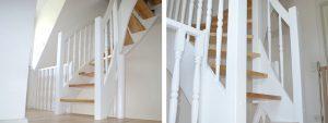 DOLLE Holzwangentreppe   Holzart Birke, gedrechselte Geländerstäbe, Deckenöffnung hergestellt, Kork/Parkettböden verlegt