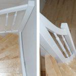 DOLLE Holzwangentreppe | Holzart Birke, gedrechselte Geländerstäbe, Deckenöffnung hergestellt, Kork/Parkettböden verlegt