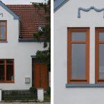 UNILUX Holzfenster | Blend/Flügelrahmen: 72 mm Bautiefe | Glas: 3-fach-Wärmeschutz-Glas, Ug-Wert 0,6 W/m²K | UNILUX-Haustür mit Seitenteilen und Oberlicht