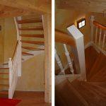 DOLLE Holzwangentreppe | Holzart Birke, gedrechselte Geländerstäbe