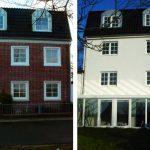 links: restaurierte Vorderansicht | rechts: neugestaltete Rückseite | WIRUS Kunststoff-Fenster MD73 | Rahmen: 5-Kammer-System, 73 mm Bautiefe, Uf-Wert 1,3W/m²K | Glas: Wärmeschutz-Glas, Ug-Wert 0,7 W/m²K, WK-2 Beschlag | WIRUS Haustür Thermo Top, 84 mm Bautiefe, thermisch getrenntes Aluminium-Profil, 3-fach Verglasung mit Verbundsicherheitsglas außen und einem Designglas in der mittleren Ebene, Edelstahl-Garnitur | Wohn-Wintergarten 4 x 6,5 m | LOBO Innentürelemente | Montage: RAL-Montage