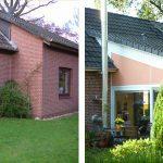links: vor der Maßnahme | WIRUS Kunststoff-Fenster MD73 | Rahmen: 5-Kammer-System, 73 mm Bautiefe, Uf-Wert 1,3W/m²K | Glas: Wärmeschutz-Glas, Ug-Wert 0,6 W/m²K, WK-2 Beschlag | Rollladen: GROWE Vorbaurollladen mit E-Antrieb | Wohn-Wintergarten | Montage: RAL-Montage