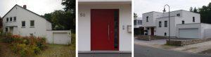 links: vor der Maßnahme   UNILUX Holzfenster und UNILUX Holz/Aluminium-Fenster   Holzfenster: Blend/Flügelrahmen: 72 mm Bautiefe   Glas:3-fach-Wärmeschutz-Glas, Ug-Wert 0,6 W/m²K HÖRMANN Garagensectionaltor mit E-Antrieb, HÖRMANN Aluminium-Haustür mit Seitenteil