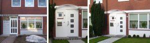 links: vor der Maßnahme | WIRUS Haustür mit Seitenteil Thermo Top | 84 mm Bautiefe, thermisch getrenntes Aluminium-Profil, 3-fach Verglasung mit Verbundsicherheitsglas außen und einem Designglas in der mittleren Ebene DUSAR Vordach