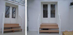 Neugestaltung Durchgang zu Wintergarten, mit DOLLE Treppe und 2-flügeliger Tür