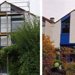links: vor der Maßnahme | INTERNORM-Fenster HF300 home soft, Material: Holz-Aluminium, 92mm Bautiefe | Glas: 3-fach Wärmeschutz-Glas, Ug-Wert 0,6 W/m²K, Uw-Wert 0,82 W/m²K, WK-2 Beschlag