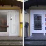 links: vor der Maßnahme ISAR-HOLZ Haustür mit Seitenteil | Sonderfarben nach Vorgabe